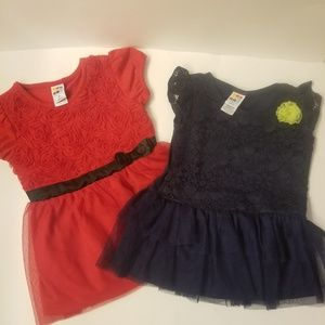 2 Healthtex 4t red and navy ruffle tulle tops